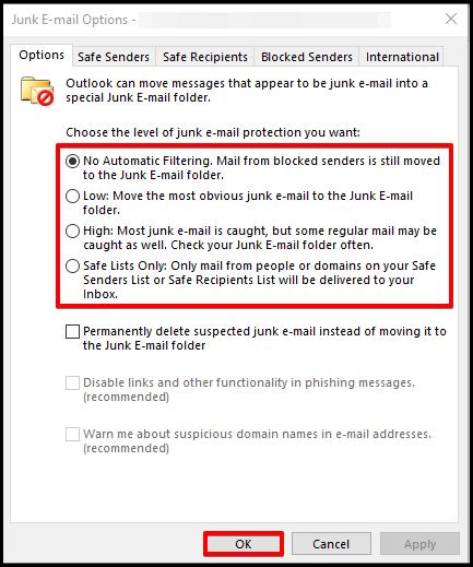 configure junk email options outlook desktop