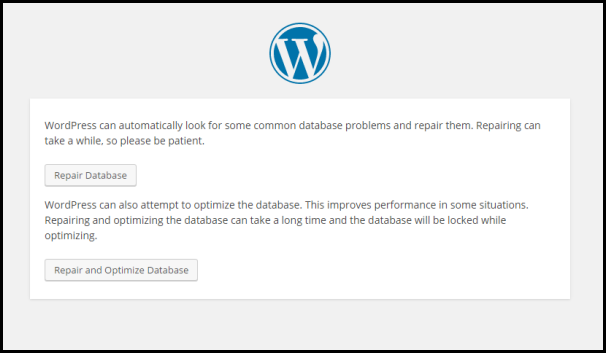 WordPress Database Repair feature