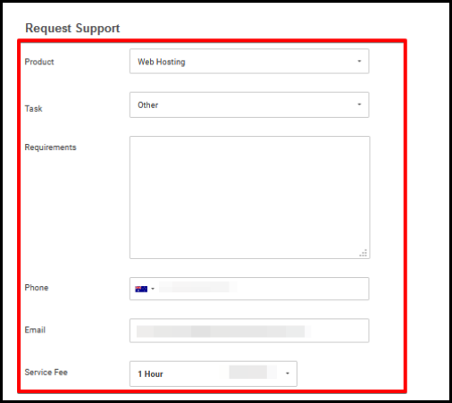 request form for website configuration on advanced support page via account manager