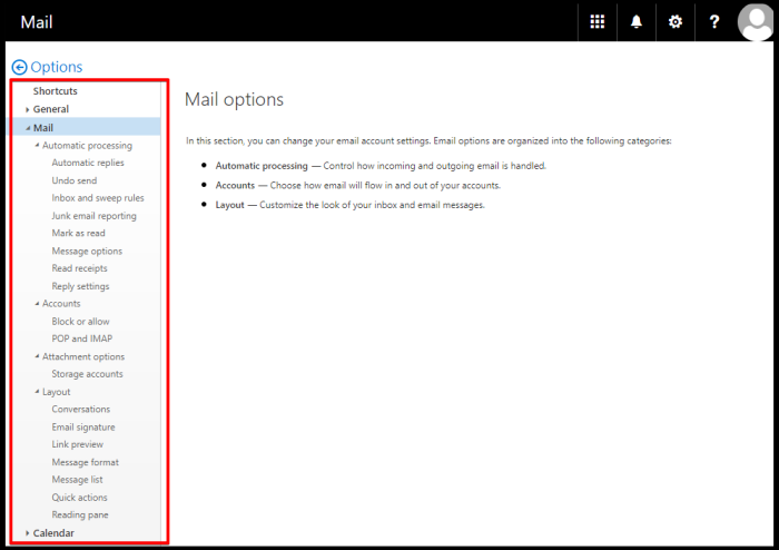 how to access settings via owa options pane