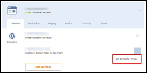 WordPress Hosting manager page setting secondary domain name button