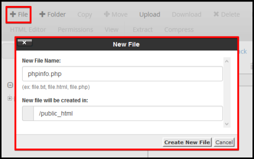 new file window to create phpinfo file in root directory
