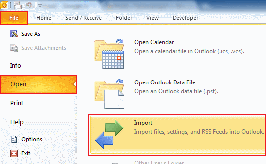import data to Outlook 2010 step 2