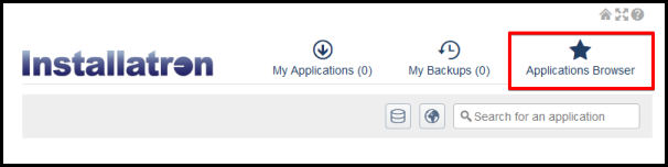 applications browser tab on installatron page