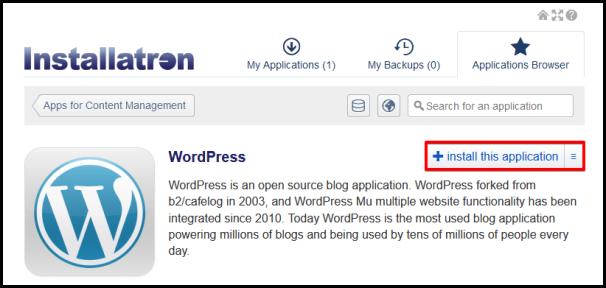 install this application on wordpress on installatron