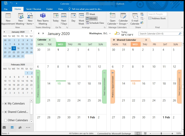 shared calendar on Outlook
