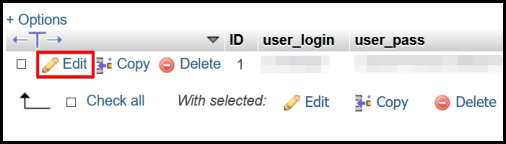 phpMyAdmin interface edit password on selected wp_user