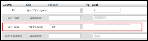 phpMyAdmin interface edit user password value