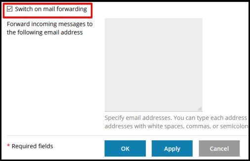 enable email forwarding option in plesk
