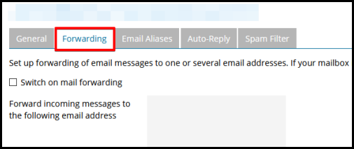email forwarding tab in plesk