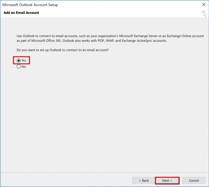 setting up outlook 2016 to check email step 2