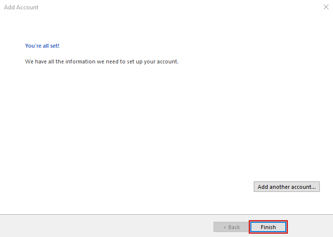 setting up outlook 2016 to check email step 10