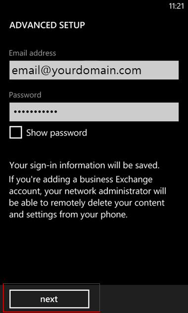 set up Windows mobile to send and receive email Step 7