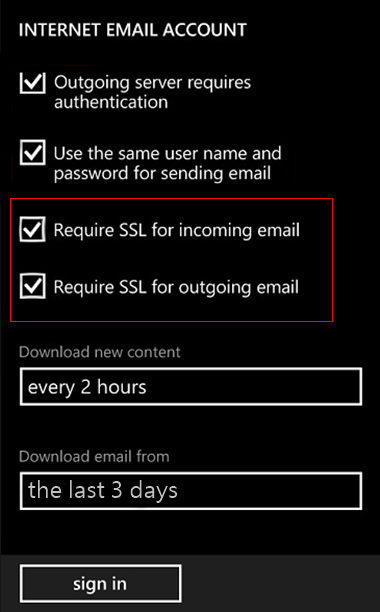 set up Windows mobile to send and receive email Step 11