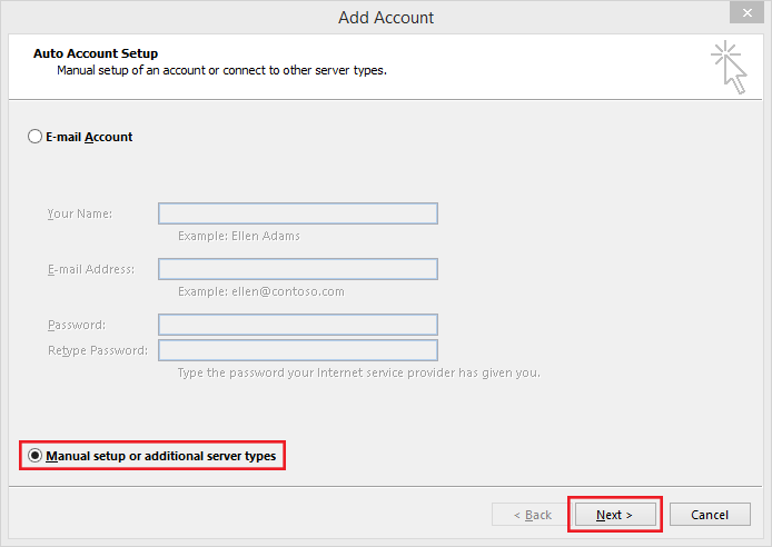 setting up outlook 2013 to check email step 3