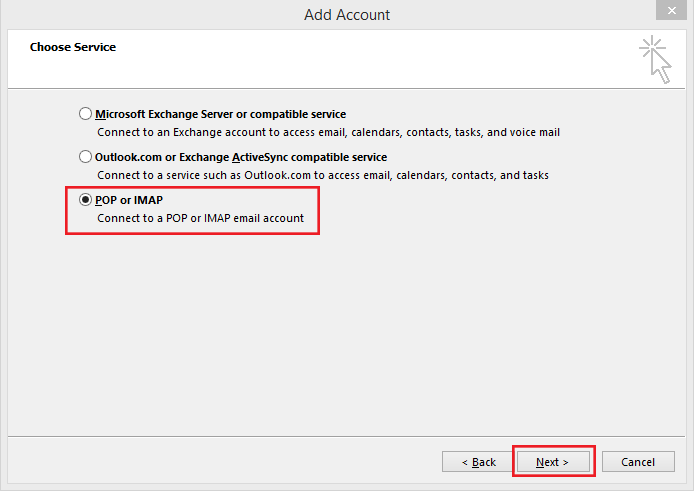 setting up outlook 2013 to check email step 4