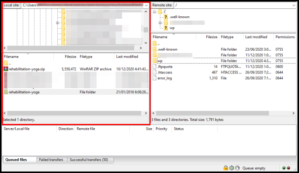 Local Directory files on FileZilla window