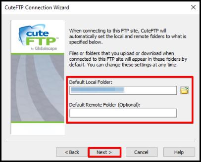 CuteFTP Setup wizard default local folder set up