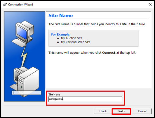 WS_FTP set up connection wizard window, enter site name