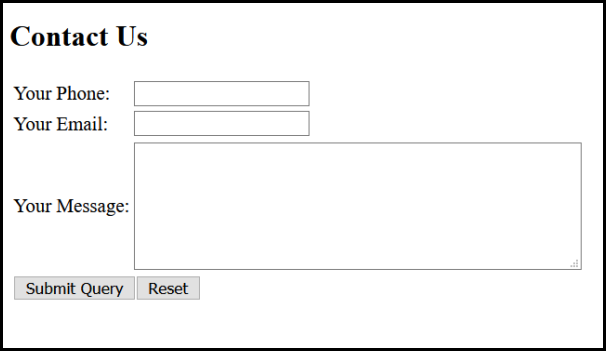 sample of contact us form page