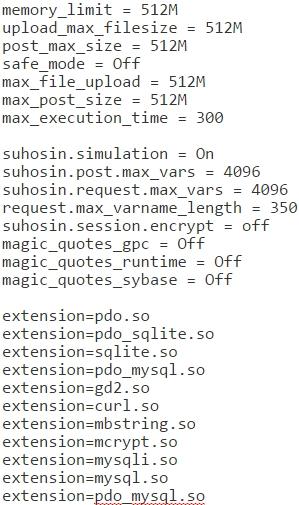 php.ini code