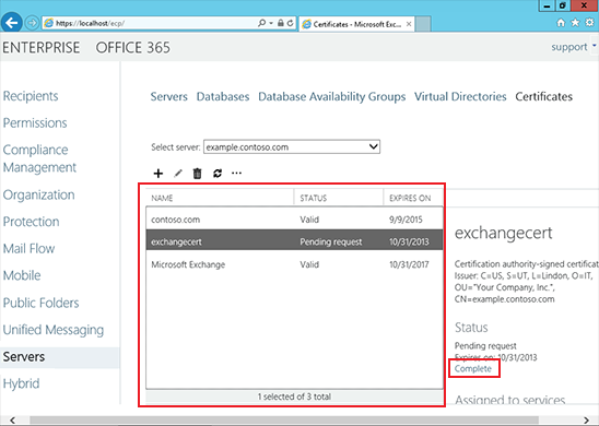 Install an SSL Certificate on an Exchange 2013 server step 6