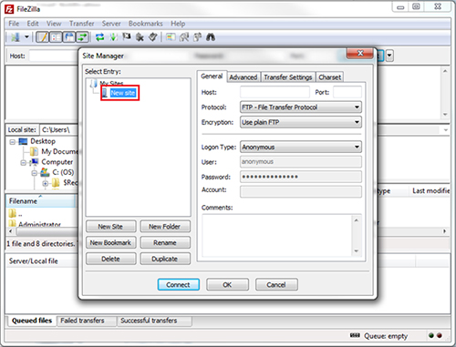 using filezilla to upload highlighting new site button