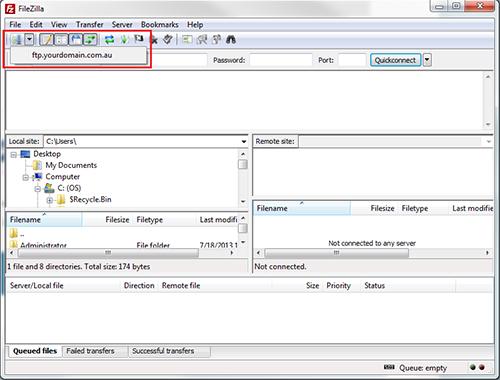 using filezilla to upload on transfer settings set to passive