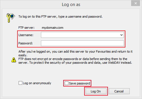 using windows 7 to upload and logging on with username,password, and saving password tick box