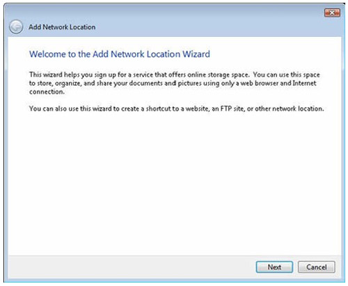 using windows vista to upload and add new network location using wizard