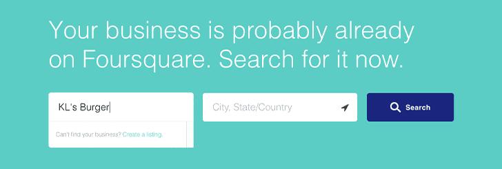 Visit Foursquare's claim page